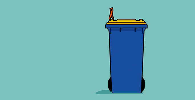 Image of blue bin with yellow lid and orange tag on left handle