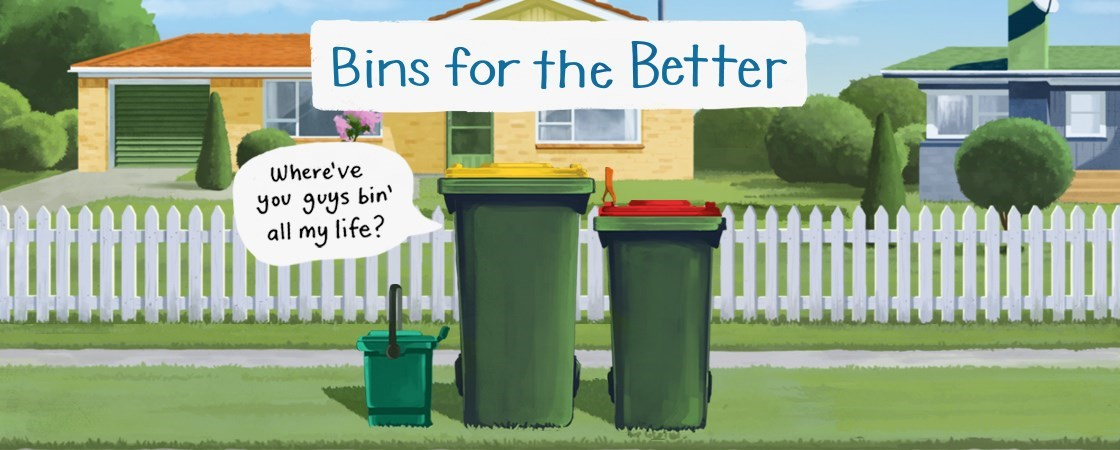 "Three bins lined up on a verge, with a speech bubble from the recycling bin saying ""where have you bin all my life?"""