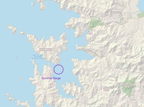 2019 Great Barrier Island Summer Barge Map