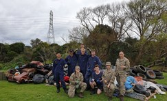 Defence Force volunteers clean up Laxon Esplanade Reserve